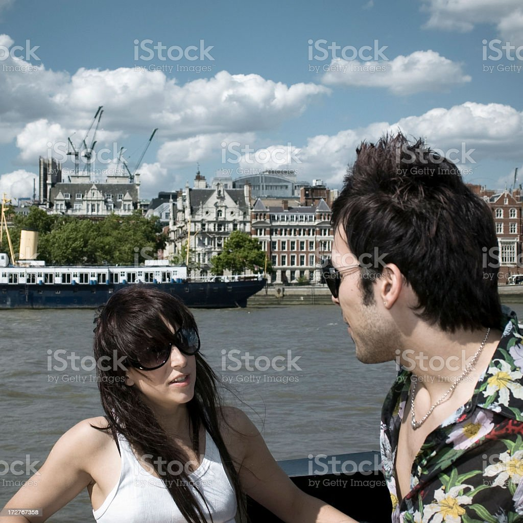 Riverside Discussion stock photo