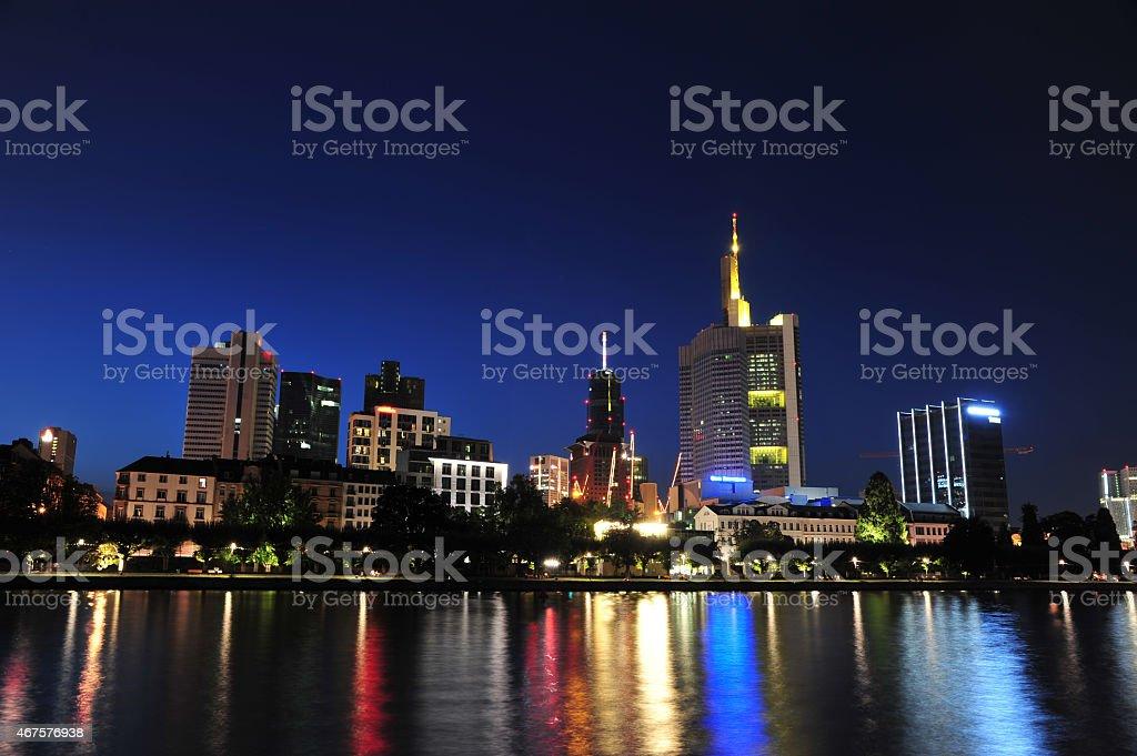 Riverside Frankfurt in Night, Germany stock photo