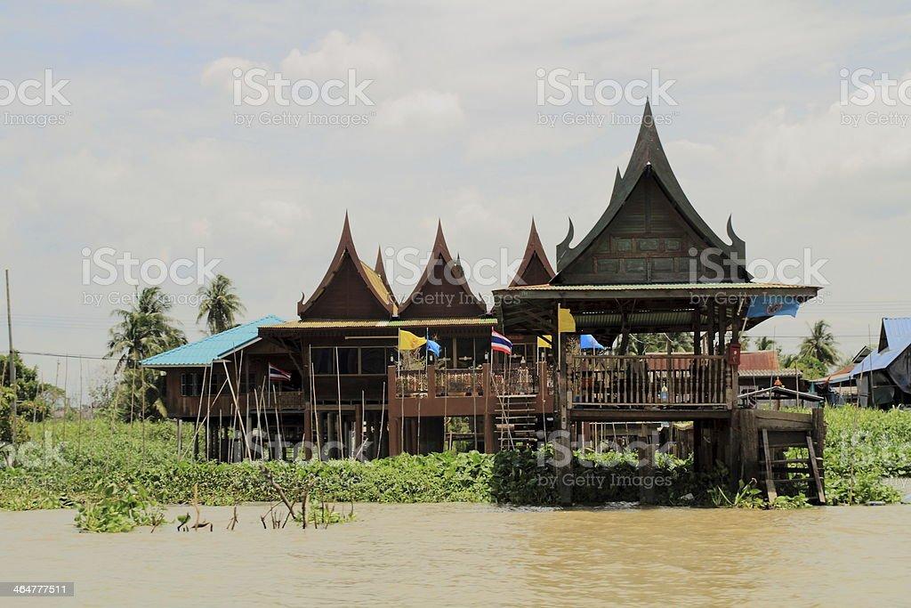 Riverside house at Chao Phraya river in Bangkok, Thailand stock photo