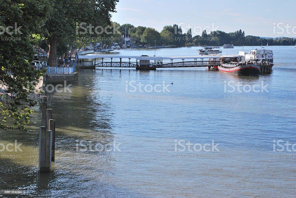 Riverside in Putney Bridge stock photo
