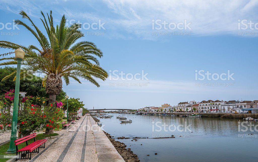 Riverside in Tavira, Algarve, Portugal stock photo