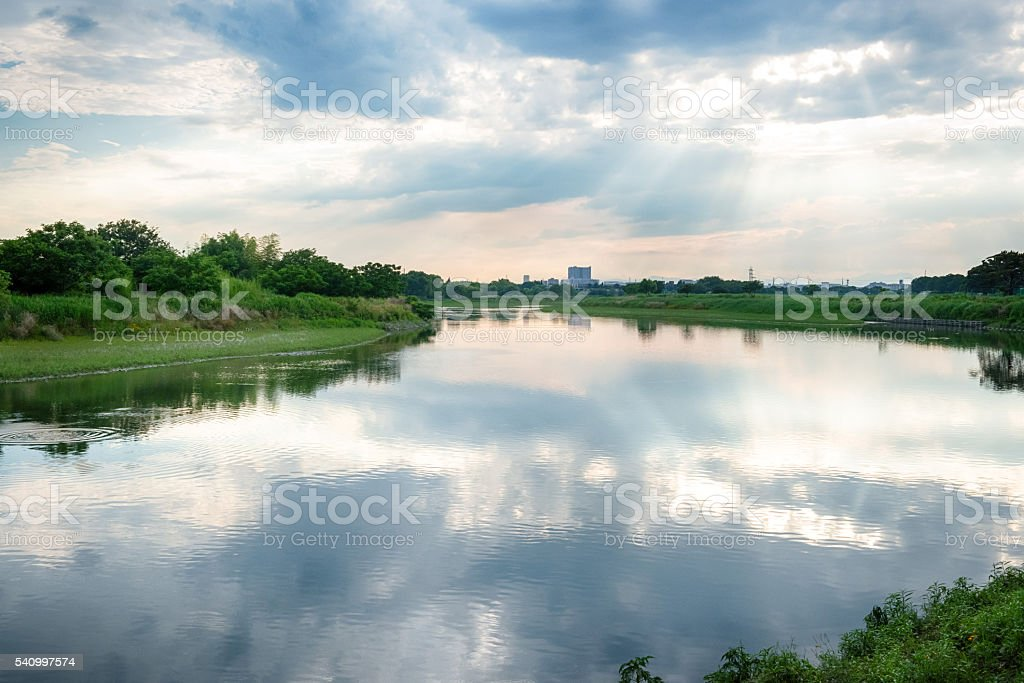 Riverside in the Tama River stock photo
