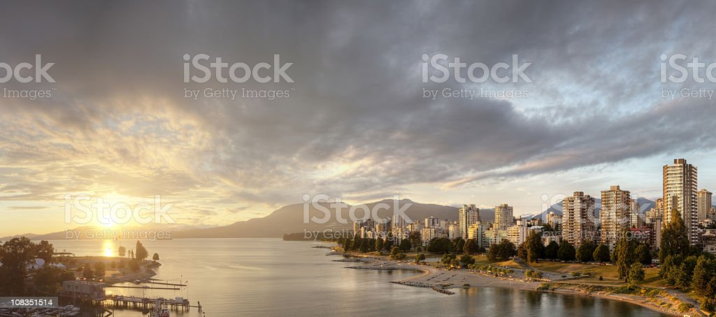 Riverside landscape of sunset over Vancouver, BC royalty-free stock photo