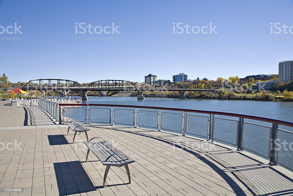 Riverside Lookout in South Downtown Saskatoon stock photo