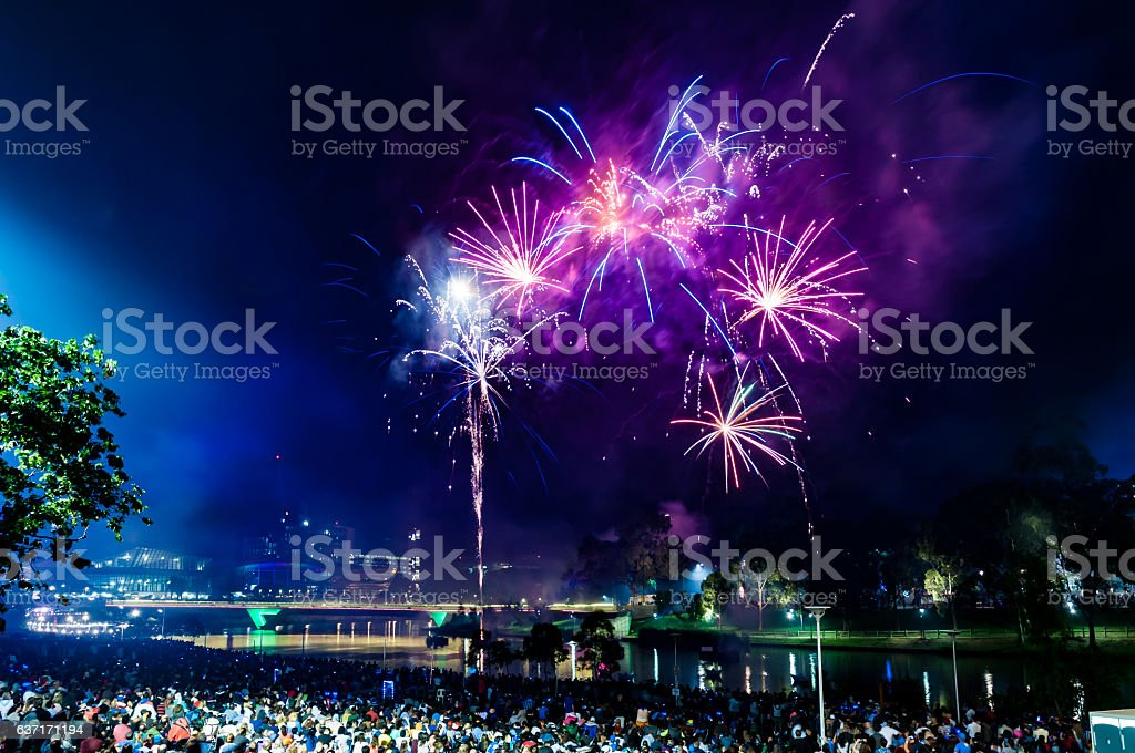 Riverside New Year's Eve 2017 stock photo