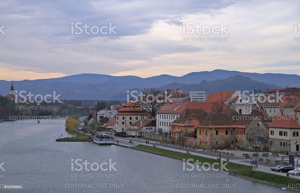 riverside of Drava river in Maribor stock photo