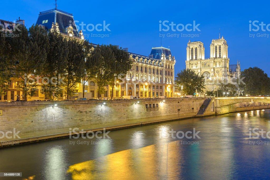 riverside of seine river in Paris stock photo