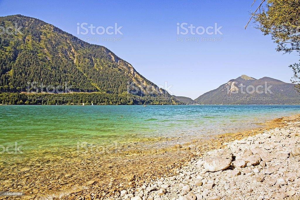 Riverside of the lake Walchensee stock photo