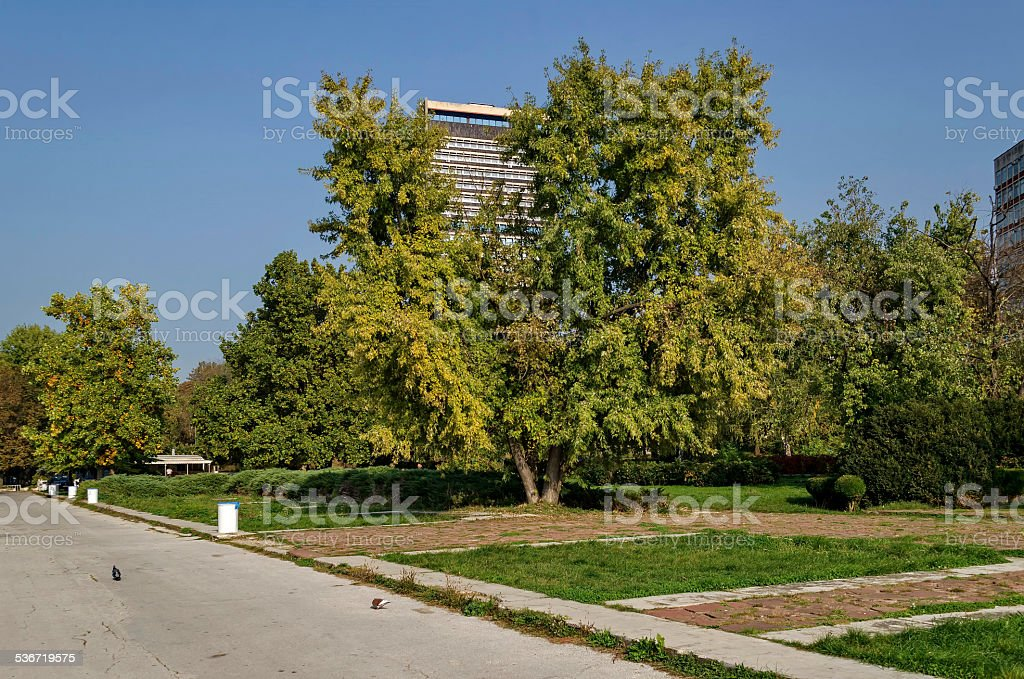 Riverside park in Ruse town along river Danube stock photo
