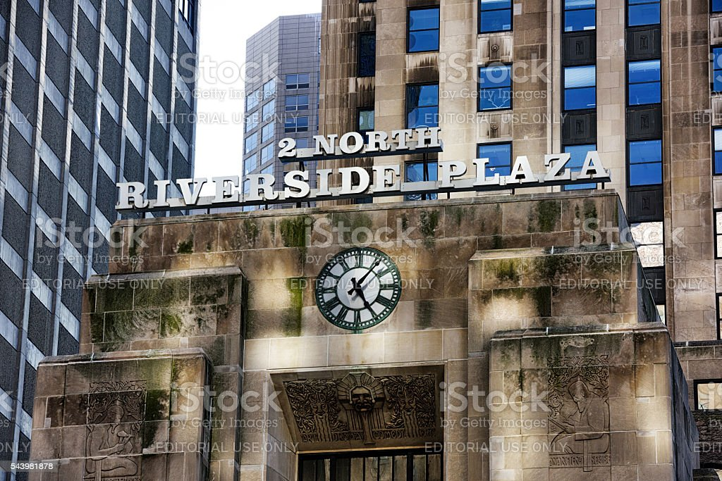 Riverside Plaza Art Deco detail in Chicago stock photo