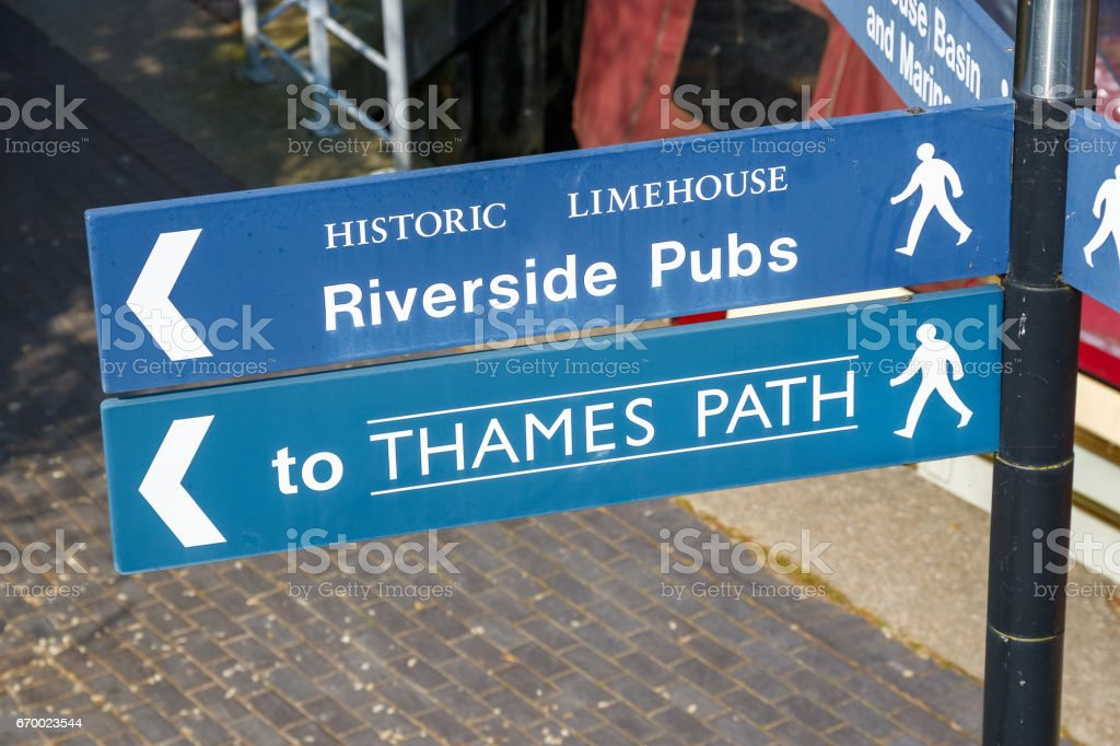Riverside Pubs and Thames Path street sign stock photo
