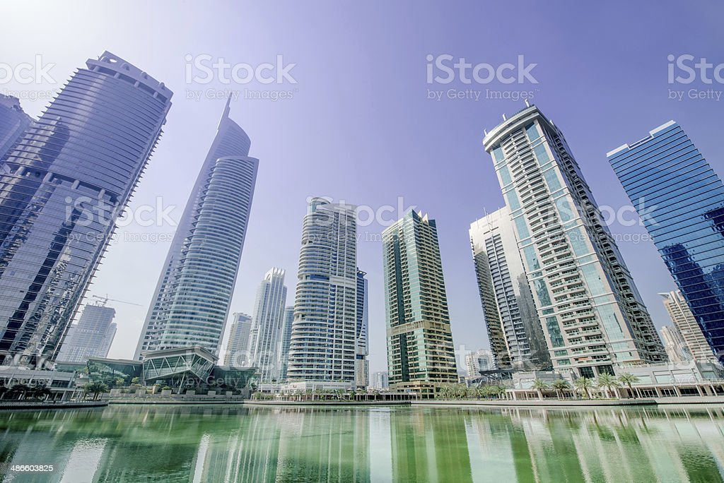 Riverside Skyscraper Apartments stock photo