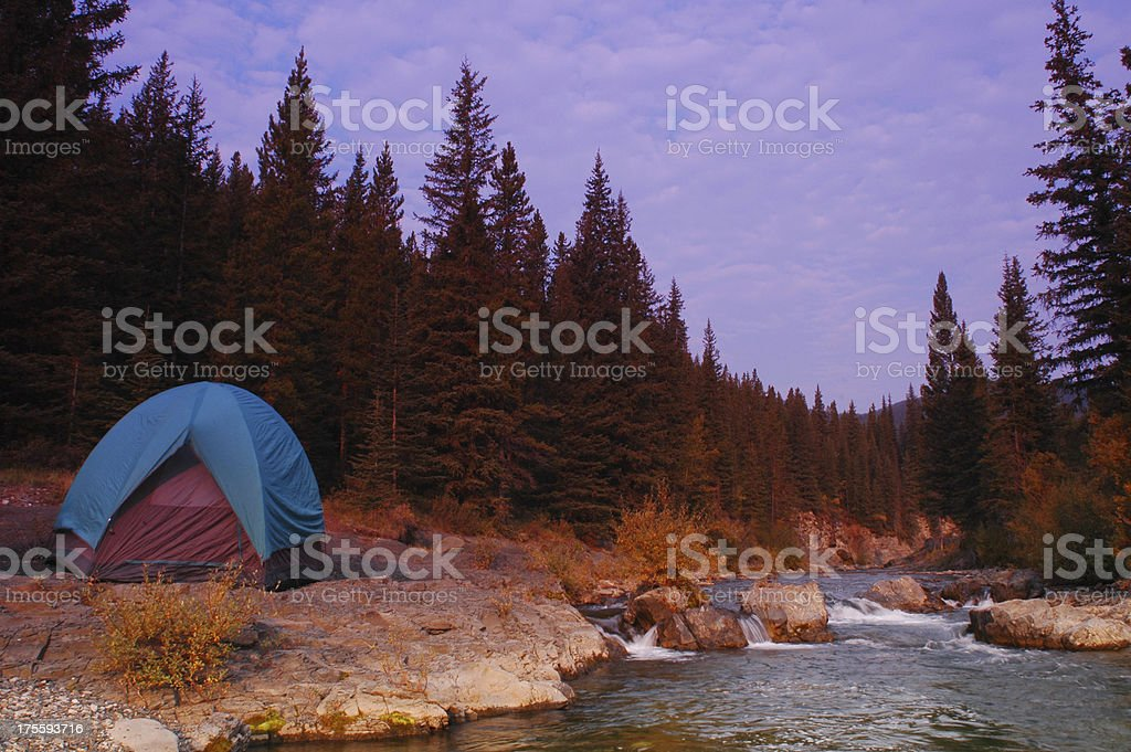 Riverside tenting royalty-free stock photo