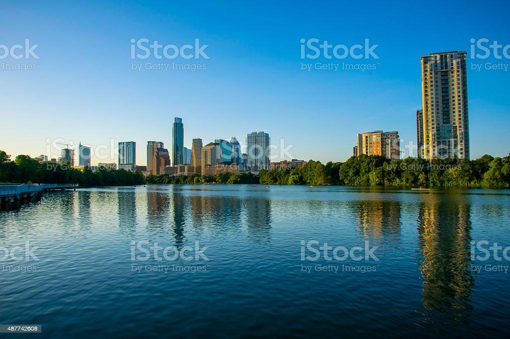 Riverside View Austin Texas Wide Angle Town Lake Skyline Cityscape stock photo
