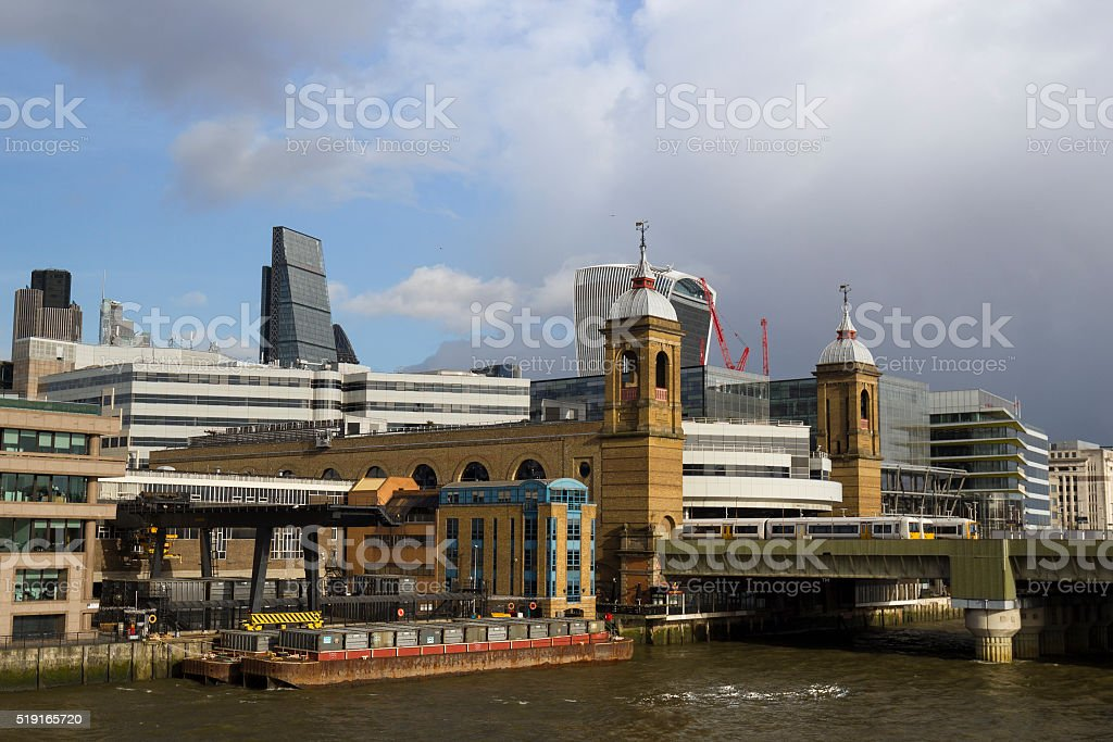 Riverside view of Cannon Street Station stock photo