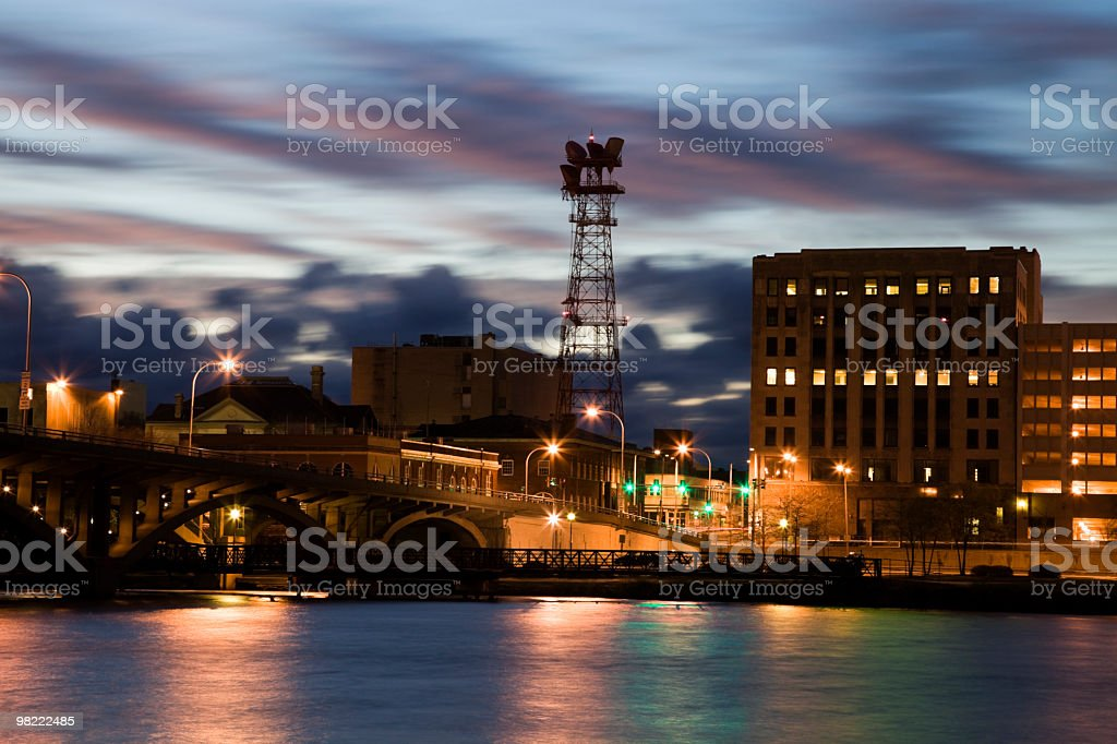 Riverside view of Rockford at sunset stock photo