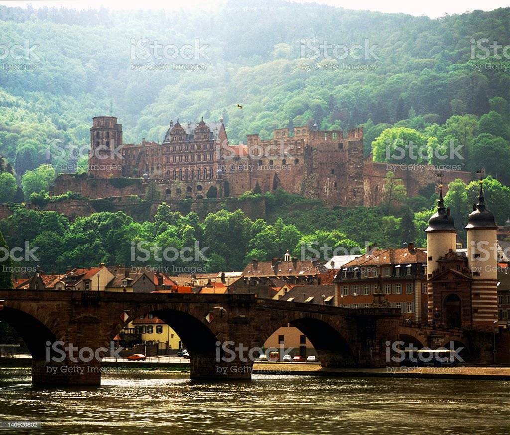 A riverside view to the castle in Heidelberg, Germany stock photo