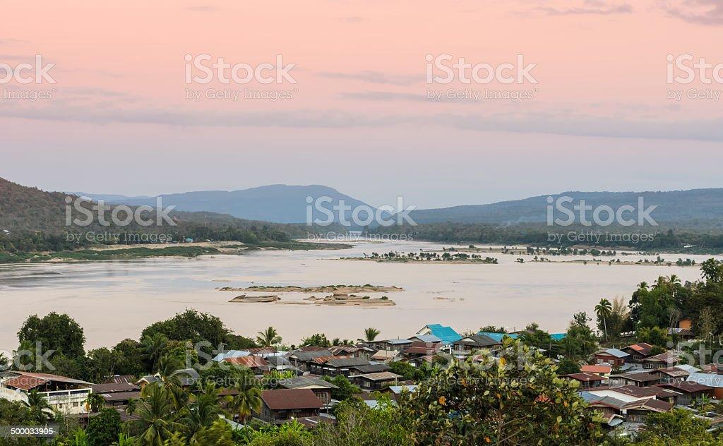Riverside village in Thailand stock photo