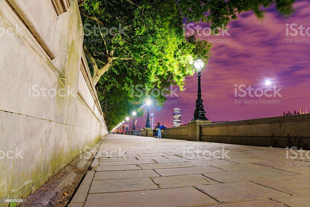 Riverside walking path stock photo