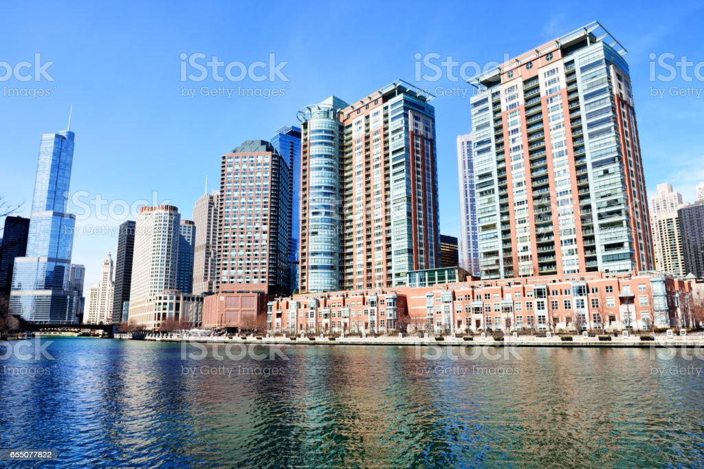 Riverview Condominiums on Chicago River stock photo