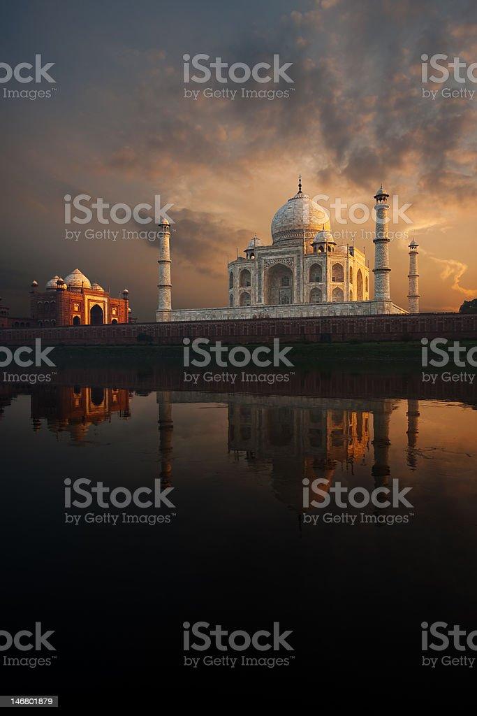 Riverview Taj Mahal & Jawab at Sunset stock photo