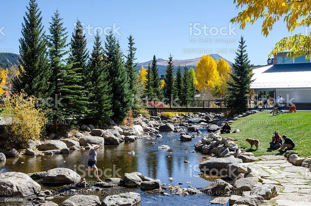 Riverwalk and the Blue River Plaza: Breckenridge, Colorado stock photo