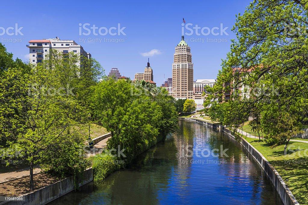 Riverwalk San Antonio Texas skyline, park walkway along scenic canal stock photo