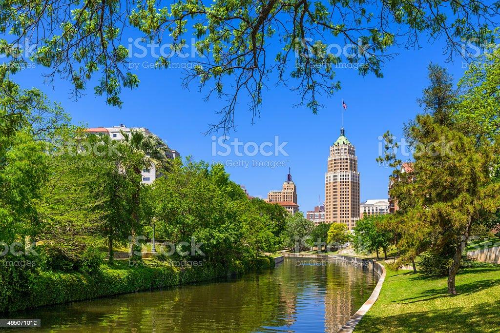 Riverwalk San Antonio Texas skyline, park walkway, scenic river canal stock photo