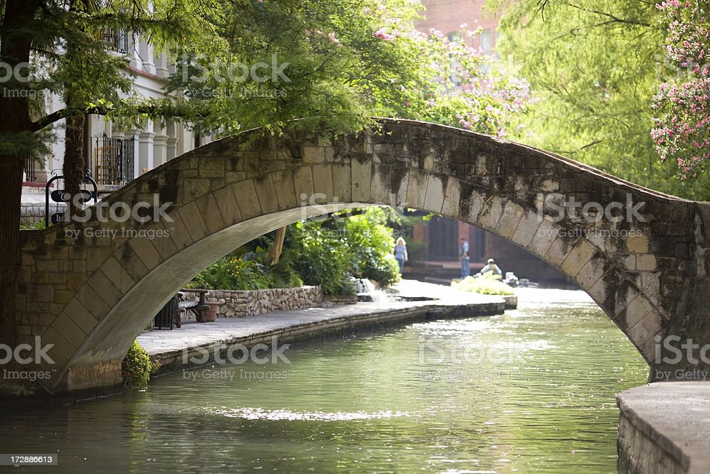 Riverwalk Stone Arch Bridge stock photo
