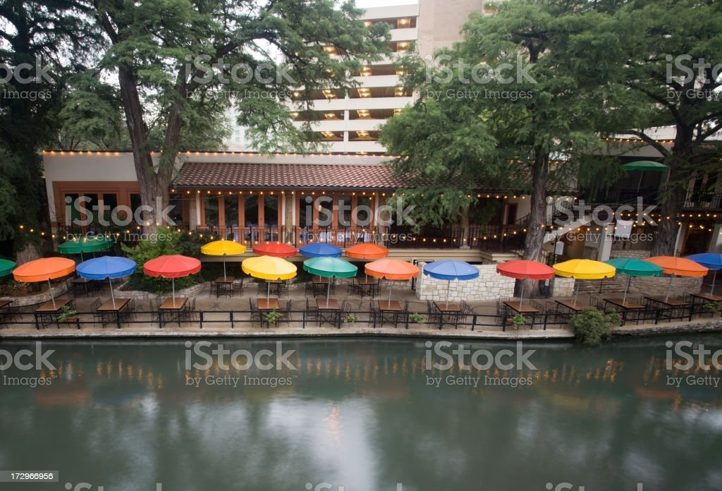 Riverwalk Umbrellas stock photo
