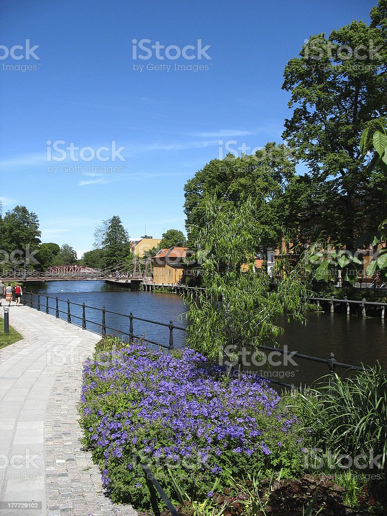 Riveside in Uppsala stock photo