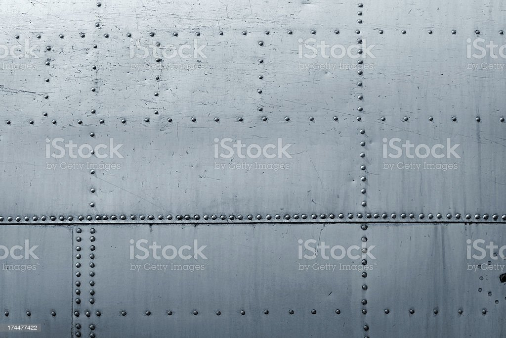 Riveted Metal Plates, Airplane Detail stock photo