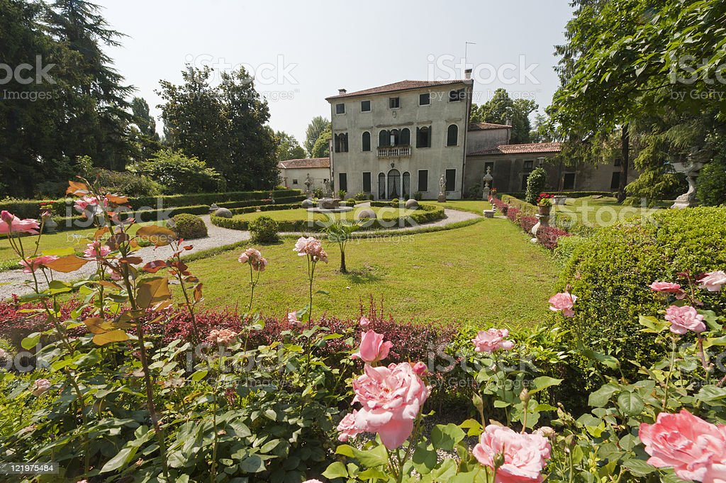 Riviera del Brenta (Veneto, Italy) - Historic villa and garden stock photo