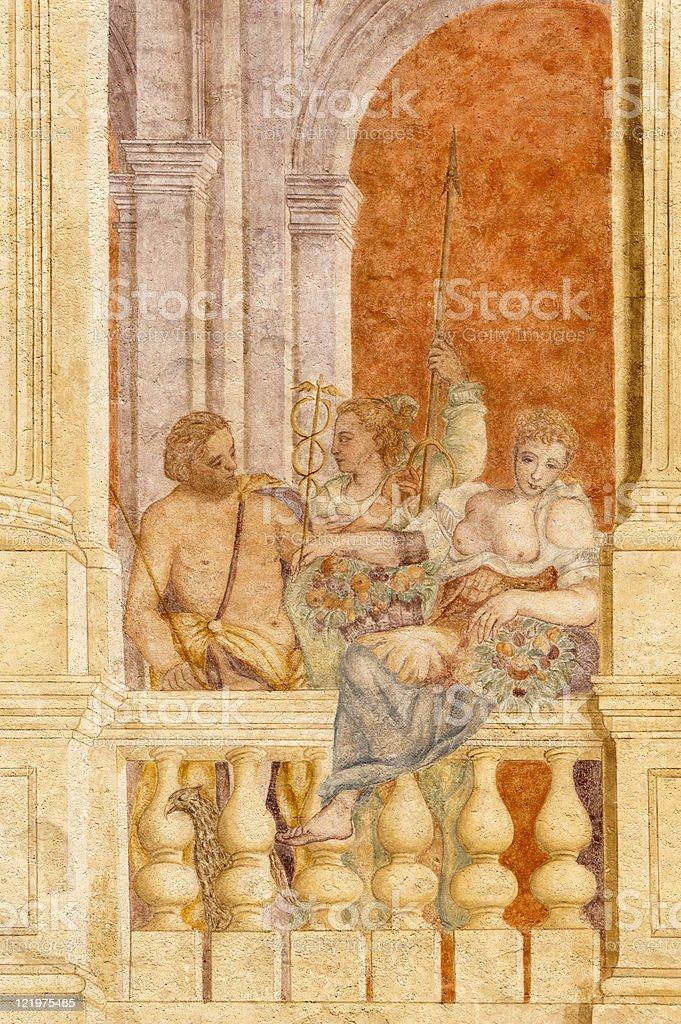 Riviera del Brenta (Veneto, Italy):  Historic villa, paintings on facade stock photo