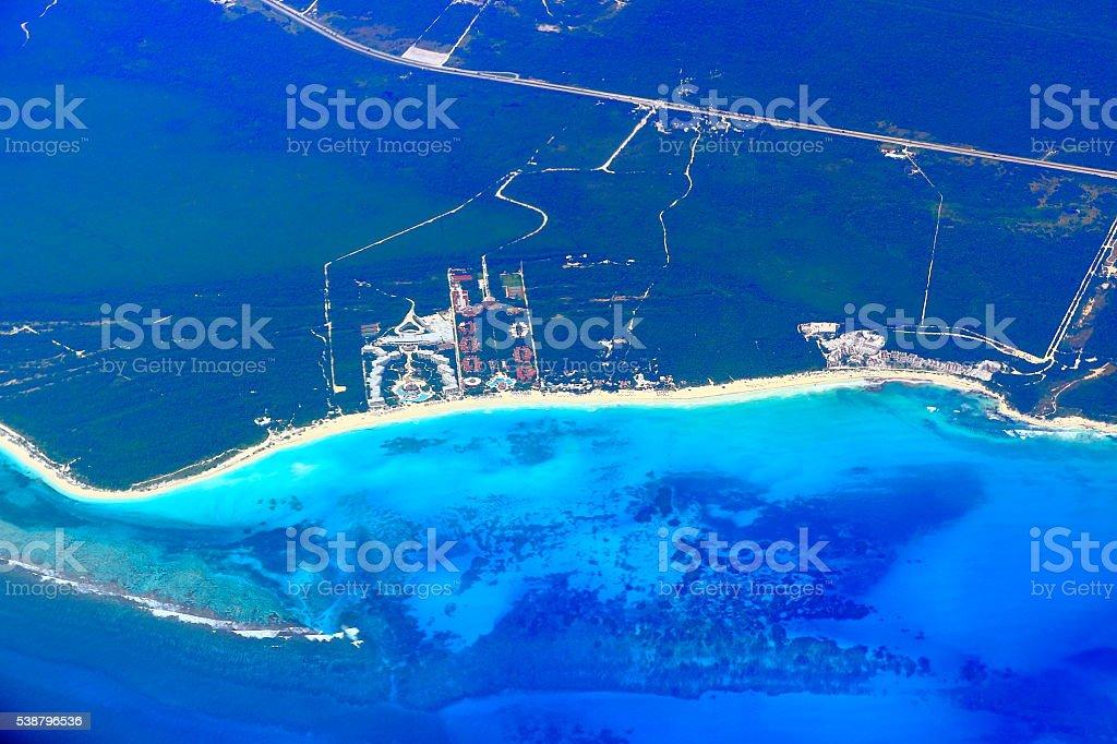Riviera maya tuquoise beaches aerial view - caribbean tropical paradise stock photo
