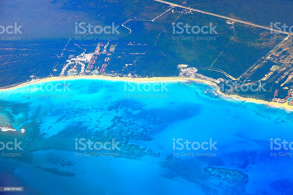 Riviera maya tuquoise beaches aerial view - caribbean tropical paradise stock photo