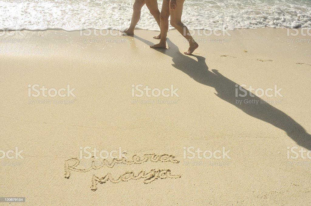 Riviera Maya Written in Sand on Beach royalty-free stock photo
