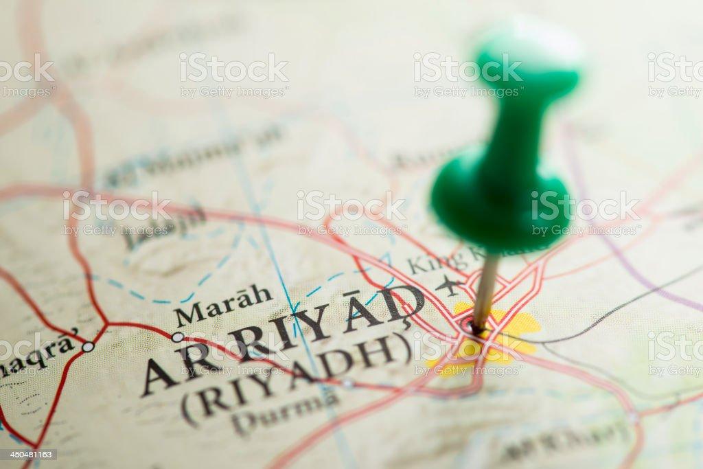 Riyadh Marked on Map with green Pushpin royalty-free stock photo