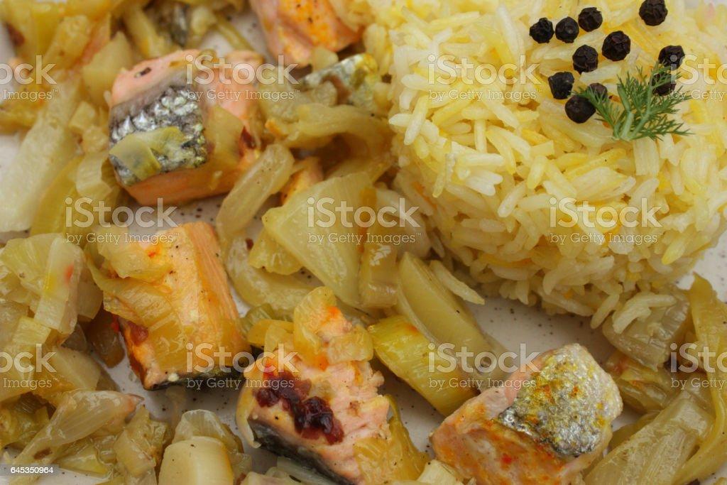 Riz safrané au saumon frais stock photo