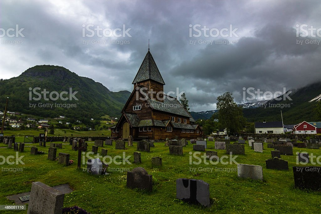 R?ldal Stave Church, Norway stock photo