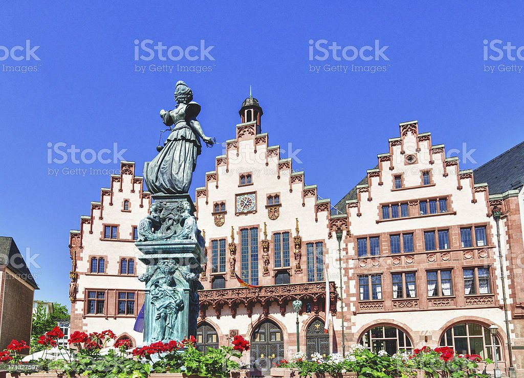 Römer and Statue of Justice Frankfurt stock photo