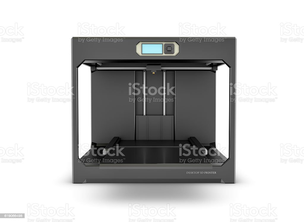 Rndering of black desktop 3d printer isolated on the white stock photo