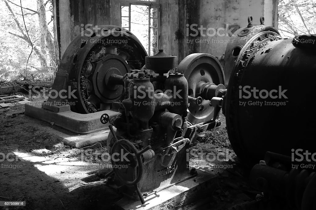Río Esva, Antiguos Generadores stock photo