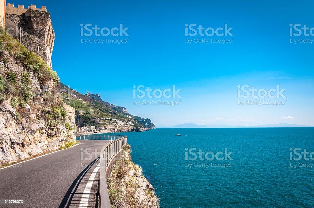 Road above the sea stock photo