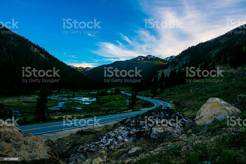 Road Across Colorado into Rocky Mountains Independence Pass stock photo