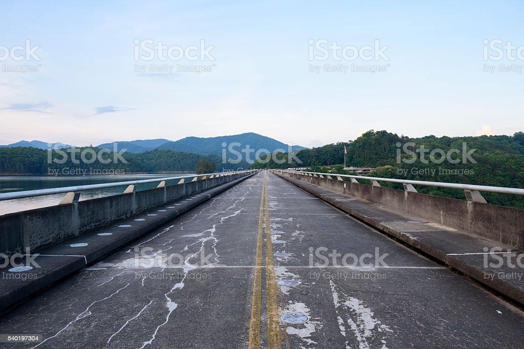 Road across Fontana Dam in North Carolina stock photo