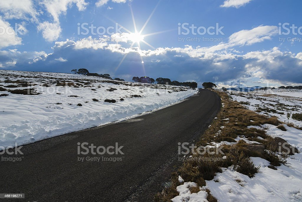 Road across the high plains stock photo