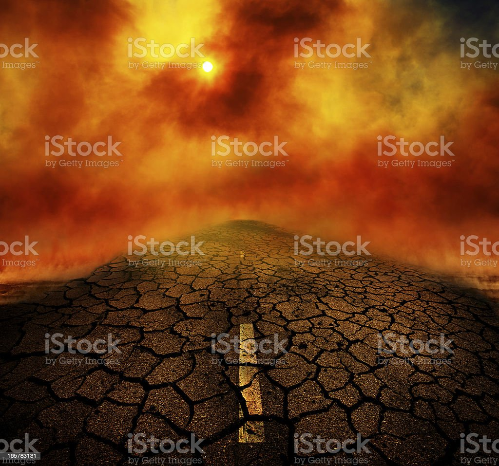 Road after the Apocalypse stock photo