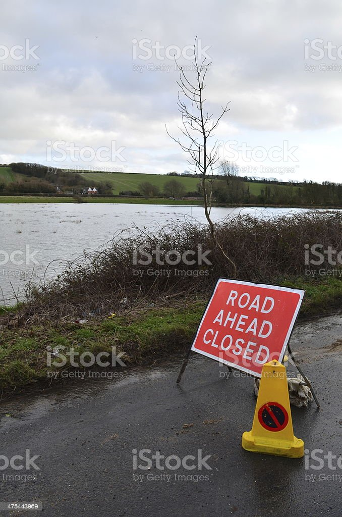 Road ahead closed sign. stock photo