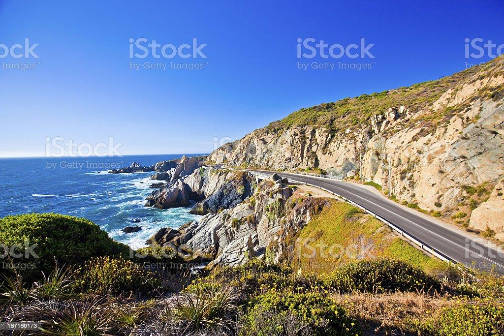Road along coastline stock photo